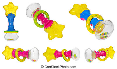 Baby rattle with a star shaped teether, multicolored hoop and rattling beads.