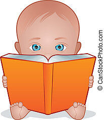 Baby Reading - Cute child holding a large open book