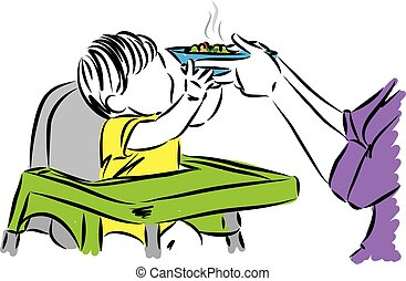 baby refusing meal from mother vector illustration