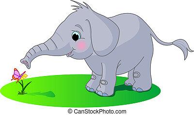 baby, reizend, elefant