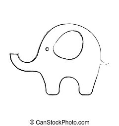 baby, reizend, elefant, ikone