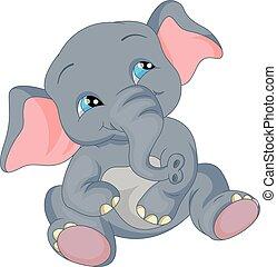 baby, reizend, karikatur, elefant