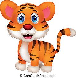 baby, reizend, tiger, karikatur