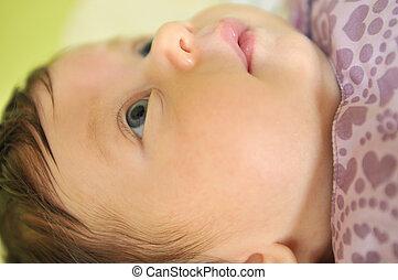 baby, reizend, wenig, closeup, gesicht