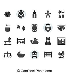 Baby related icon and symbol set