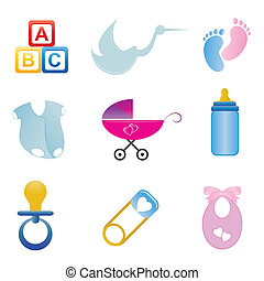 Baby related icon set - Baby related items in icon set