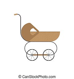 Baby retro stroller. Vector illustration on a white background.