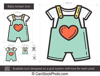 Baby romper line icon. - Baby romper vector line icon...