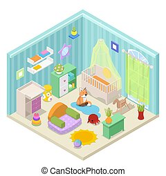 Baby Room Interior Design with Furniture and Toys. Isometric vector flat 3d illustration