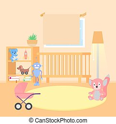 Baby room interior. Flat design. Baby room with a window, shelf, toys. Children s girls room.