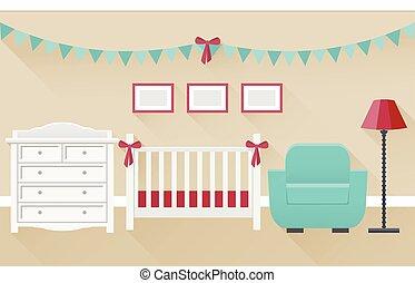 Baby room interior. Flat vector illustration.