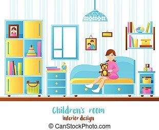 Baby Room Interior Vector Illustration