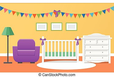 Baby room interior. Vector illustration.