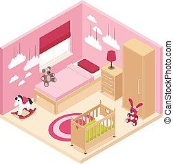 Baby Room Isometric Interior
