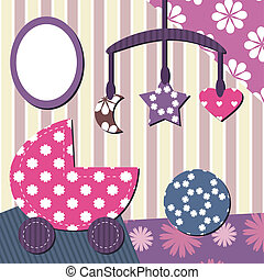 baby room scrapbook style with different objects