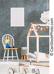 Baby room with a poster