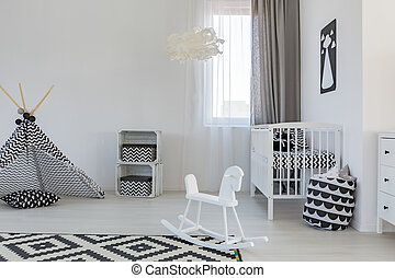 Baby room with crib - Cozy baby room with crib and teepee