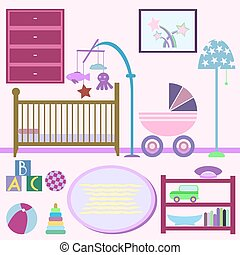 Baby room with furniture. Nursery interior. Flat style vector il