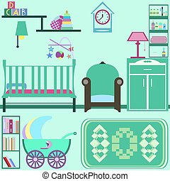 Baby room with green furniture. Nursery interior. Flat style vec