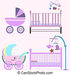 Baby room with pink furniture. Nursery interior. Flat style vect