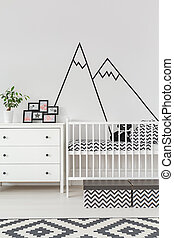Baby room with wall decoration - Baby room interior with cot...