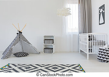 Baby room with white cot - Light baby room with white cot, ...