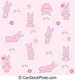 baby, rosa, hintergrund., lustiges, kaninchen