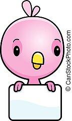 baby, rosa, vogel, karikatur, zeichen