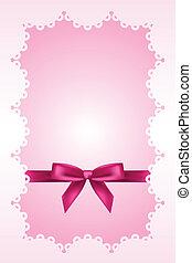 baby, rosafarbener hintergrund, mit, spitze, und