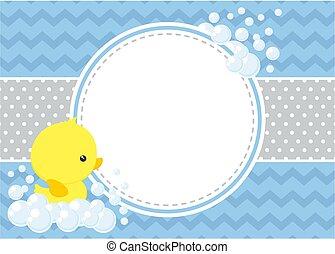 baby, rubberducky, dusche, karte