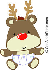 baby rudolph - cute baby deer with red nose isolated on...