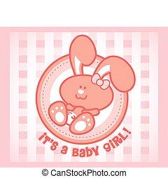 baby, söt, -, kvinnlig, kanin, version., orgirl