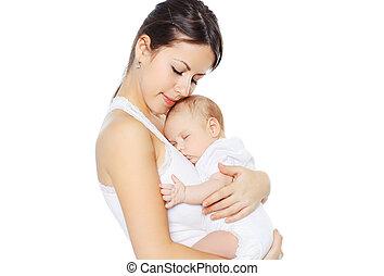 baby, söt, räcker, sova, mor