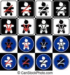 Baby safety seat belt icon set