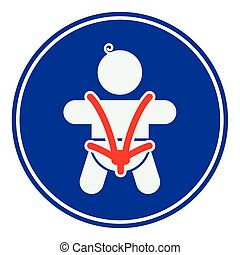 Baby safety seat belt, vector