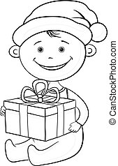 Baby Santa Claus with a gift box, outline