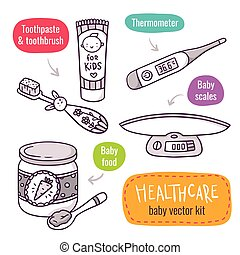 Baby scales, baby food, thermometer, toothpaste and toothbrush for kids - vector line art icon set with baby products for children healthcare isolated on white