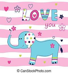 baby, schattig, achtergrond, elefant
