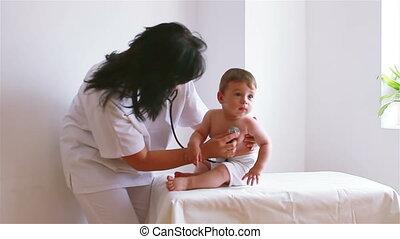baby, schattig, bezoek, arts