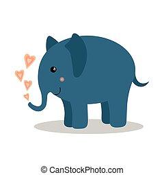 baby, schattig, elefant, hartjes