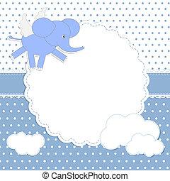 baby, schattig, elephant-angel, kaart, jongen