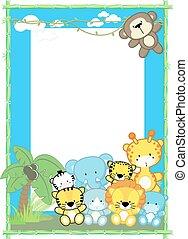 baby, schattig, frame, dieren