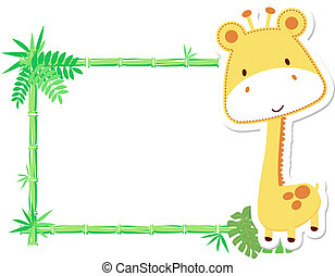 baby, schattig, frame, giraffe