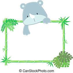 baby, schattig, frame, neushoorn