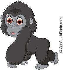 baby, schattig, gorilla