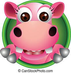 baby, schattig, hoofd, spotprent, nijlpaard