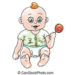 baby, schattig, illustratie