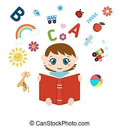 baby, schattig, lezende , book., zittende