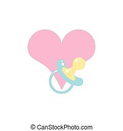 baby, schattig, pacifier, liefdehart