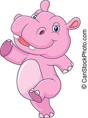 baby, schattig, rennende , spotprent, nijlpaard
